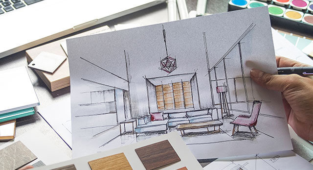 Architect designer Interior creative working hand drawing sketch